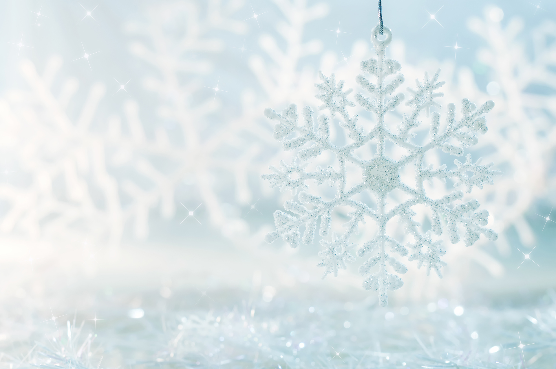 Beautiful Christmas Background.Snowflake On A Blue Festive Background Beautiful Christmas